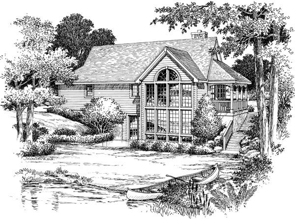 Country Rear Elevation of Plan 87381