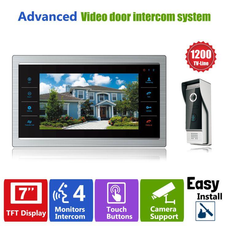 "Homefong 7 ""TFT 1200TVL Deur Monitor Video Intercom Home Deurtelefoon Recorder Systeem SD/Tf-kaart Ondersteund Waterdichte Regenhoes"