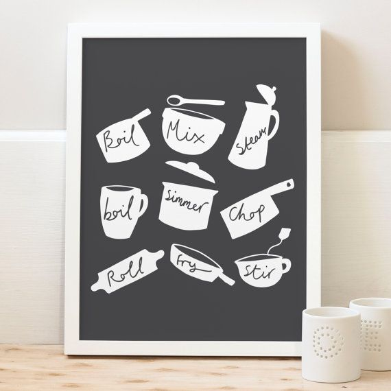 A4 Cooking Pots And Pans Print By OldEnglishCo On Etsy