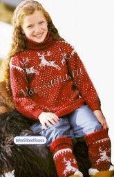 Детский свитер спицами с оленями и гетры