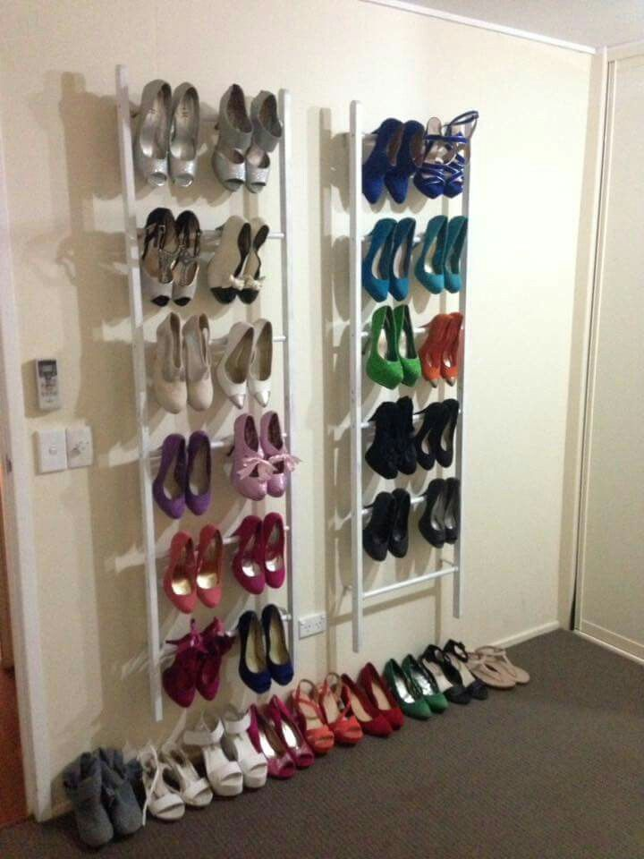 Painted the bamboo racks white & used curtain rod holders to hang them on the wall. What a great shoe rack! 👠👡perfect idea if your limited on space in your wardrobe! #kmarthack