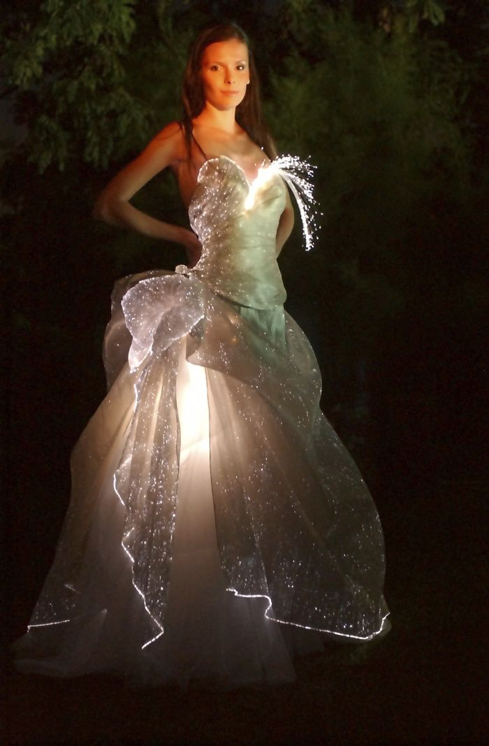 LED wedding dress with fibre optic fabric
