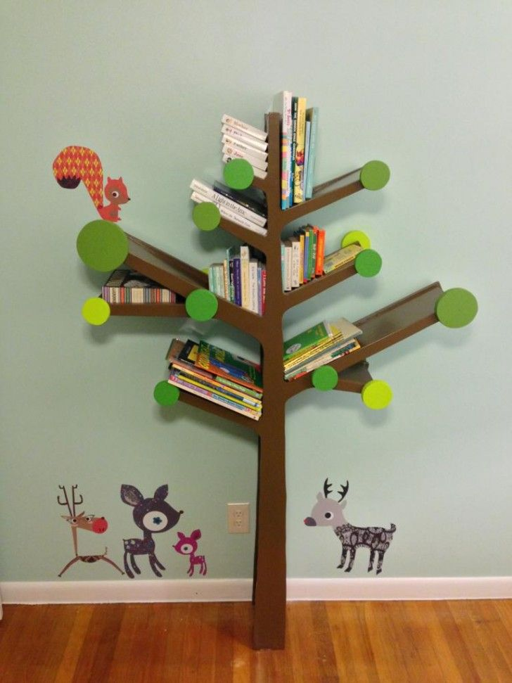 Furniture. Engaging Design Ideas Of Branch Bookshelf. Delectable Design Branch Bookshelf Featuring Brown Wooden Branch Bookshelf And Brown Wooden Laminated Floor Plus Blue Wall Paint Color Along With Cute Animals Wall Decals