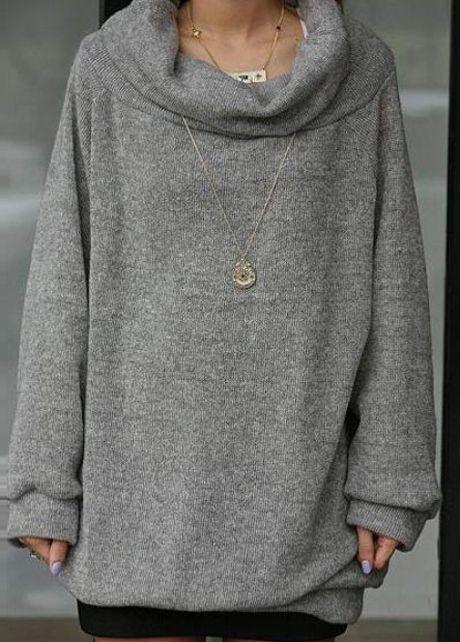Sunshine Grey Turtleneck Dolman Sleeve Long Sweats for Autumn | martofchina.com