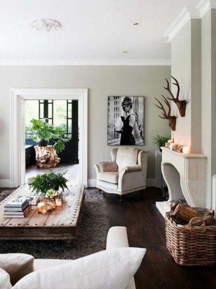 amenagement salon 20m2 tapis marron fonce table en bois brut canape beige