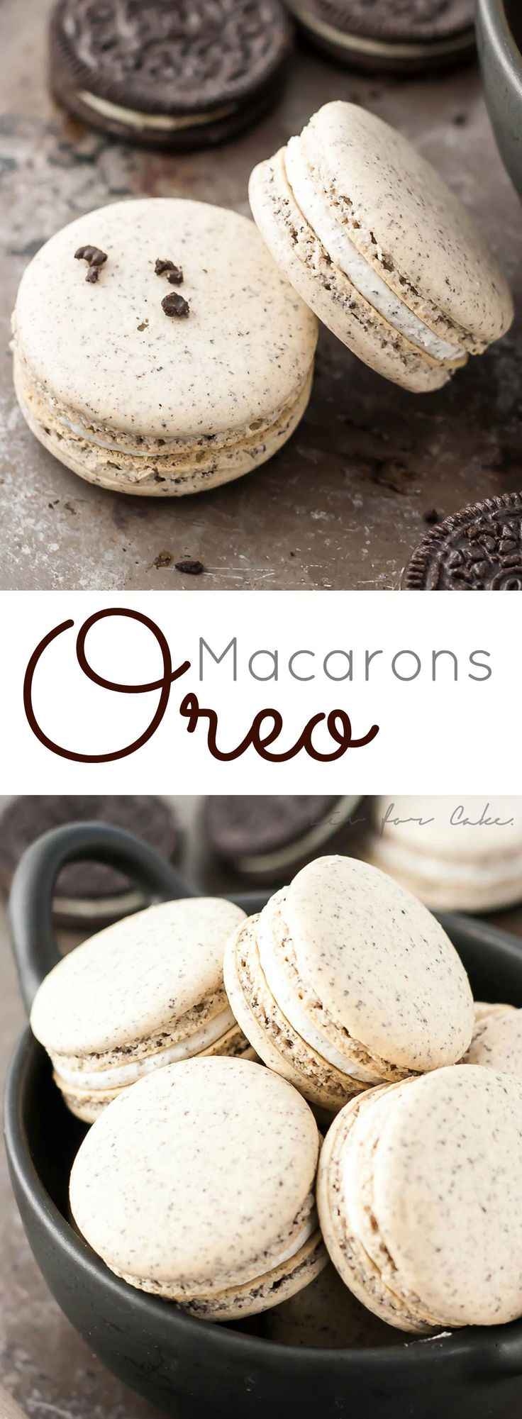 Make your favourite store-bought classics into something more decadent with these delicate Oreo macarons. | livforcake.com via @livforcake