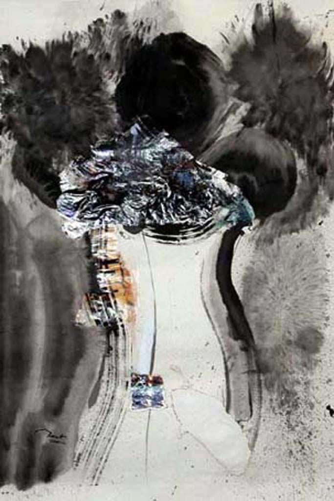 Gold Time, 2001, 60x102cm<br> Ink/mixed media on rice paper