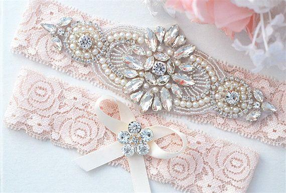 Fard à joues rose vente Perle en cristal ensemble de jarretière de mariage, Jarretière en dentelle Stretch, strass cristal jarretières de mariée