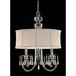 @Overstock - Update your home decor with this 3-light crystal chandelier     Lighting fixture will add subtle elegance to any room in the house    Light features chrome plated arms with crystal beadshttp://www.overstock.com/Home-Garden/Fabric-Shade-3-light-Crystal-Chandelier/3672050/product.html?CID=214117 GBP              93.96
