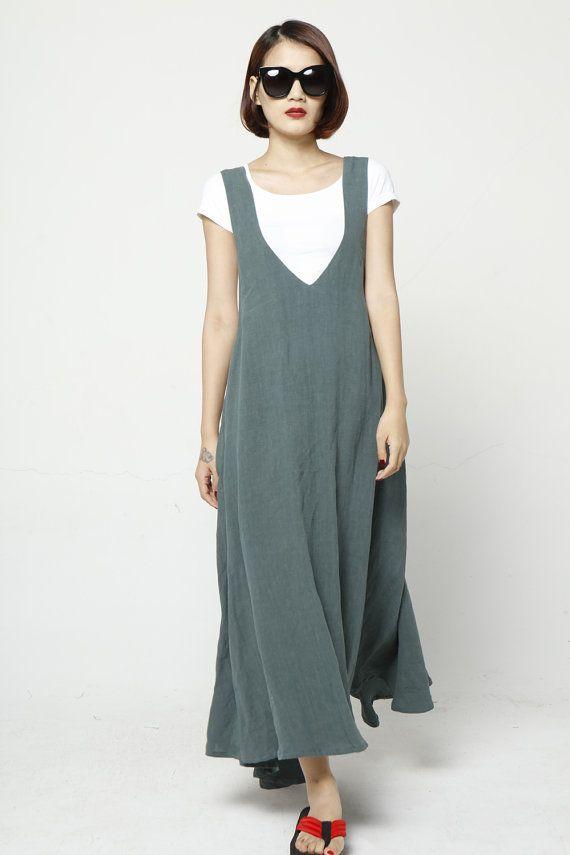 Maxi Linen Straps Dress Vest Dress Sleeveless by Sophiaclothing