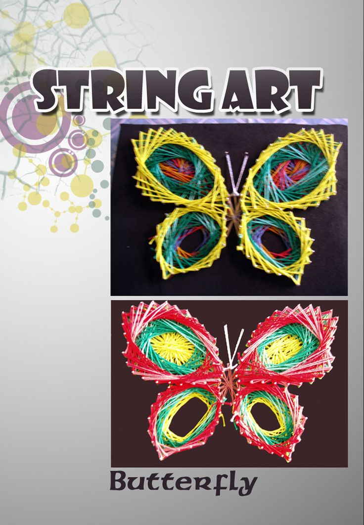 Colorful threads/cords and pins on black rubber boards to make these butterflies.