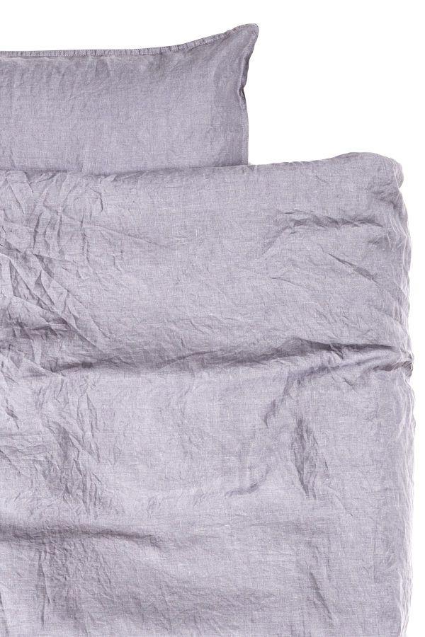 Lilagrau Premium Qualitat Bettwasche Aus Gewaschenem Leinen Mit