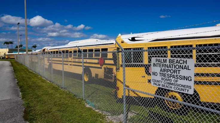 Trump in Palm Beach: Wall of school buses to protect president good use for unnecessary antique concepts like education.