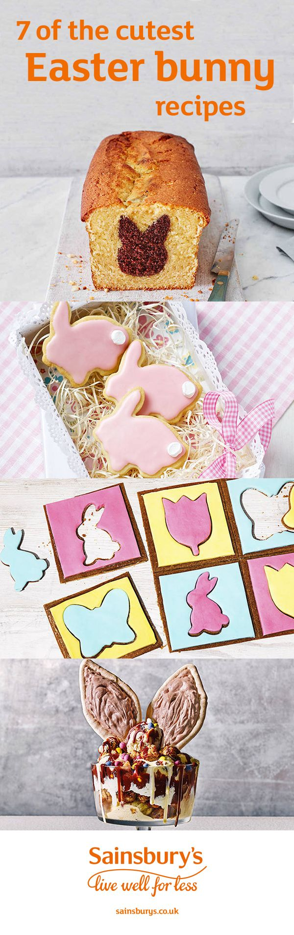 Make your Easter weekend extra special with adorable bunny-shaped treats. A scoop of indulgent hot cross bunny ice cream sundae is a great way to use up leftover hot cross buns, or you could surprise the family with a hidden Easter bunny loaf. Instead of a traditional Easter egg hunt, try our irresistible gingerbread biscuit puzzle. We've also got Easter bunny cookies, chocolate Easter nest cupcakes and chocolate carrots.