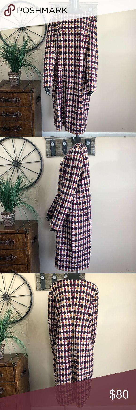 Boden Cotton Blend Long Sleeve Dress NWOT / No Issues / Never Worn / Burgundy Mu... 5