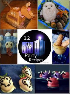 22 Doctor Who Party Recipes   Lazy Budget Chef  (This is a roundup of cute Doctor Who food and drink ideas from around the Web--some might not be so lazy- or budget-friendly, but they look like fun!  Except the canned haggis--bleck.)