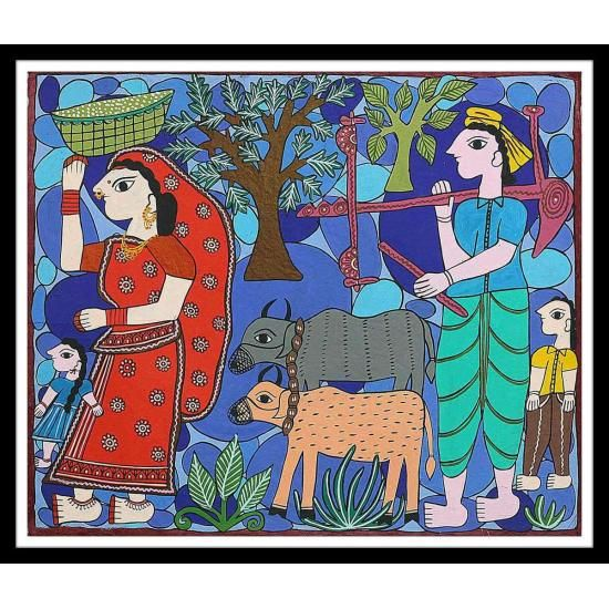 "Traditional Mithila Art, size: 21"" x 17"""