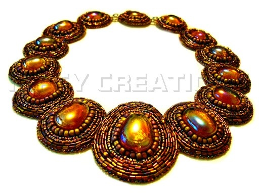 The Mayoress - bead embroidered collar. Fit for royalty or a relaxed dinner. Amber AB glass cabs, surrounded by Japanese seed and bugle beads.     This was an absolute joy to create and is really comfortable.