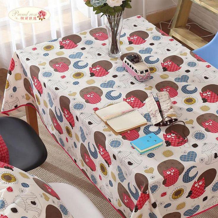 proud rose cute cartoon owl table cloth free shipping creative cartoon linen tablecloth dustcloth modern cloth