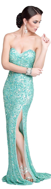 Primavera Couture Evening Dresses #strapless #aqua #dress