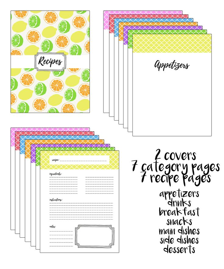 Ambitious image intended for recipe binder cover printable