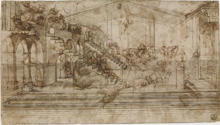 Study for the Adoration of the Magi, ca. 1482  Leonardo da Vinci (Italian, 1452-1519)