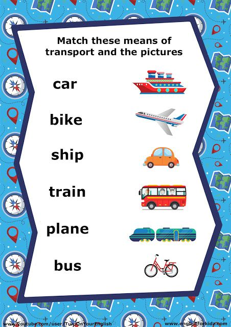 English for teenagers, transport vocabulary worksheet, matching phrases to photos