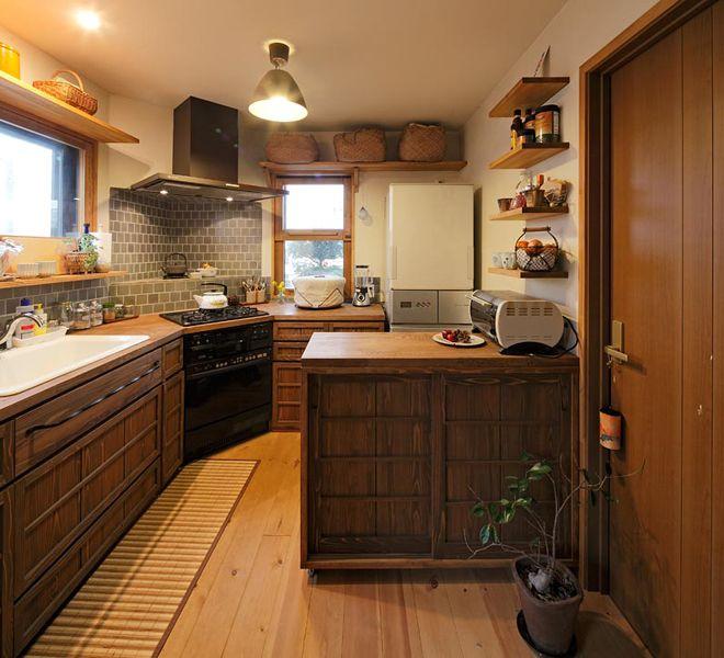 心なごむ昭和モダンキッチン(戸建2×4):リフォーム事例。自然素材の住まいやロハスな住宅リフォーム、マンションリフォームを提供