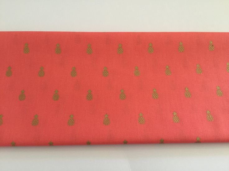 Gold pineapple on coral 100% Cotton by SweetpeaAndLime on Etsy