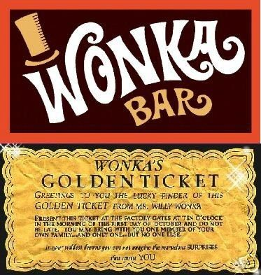 Custom Willy Wonka Bar Golden Ticket Party Invitations Chocolate