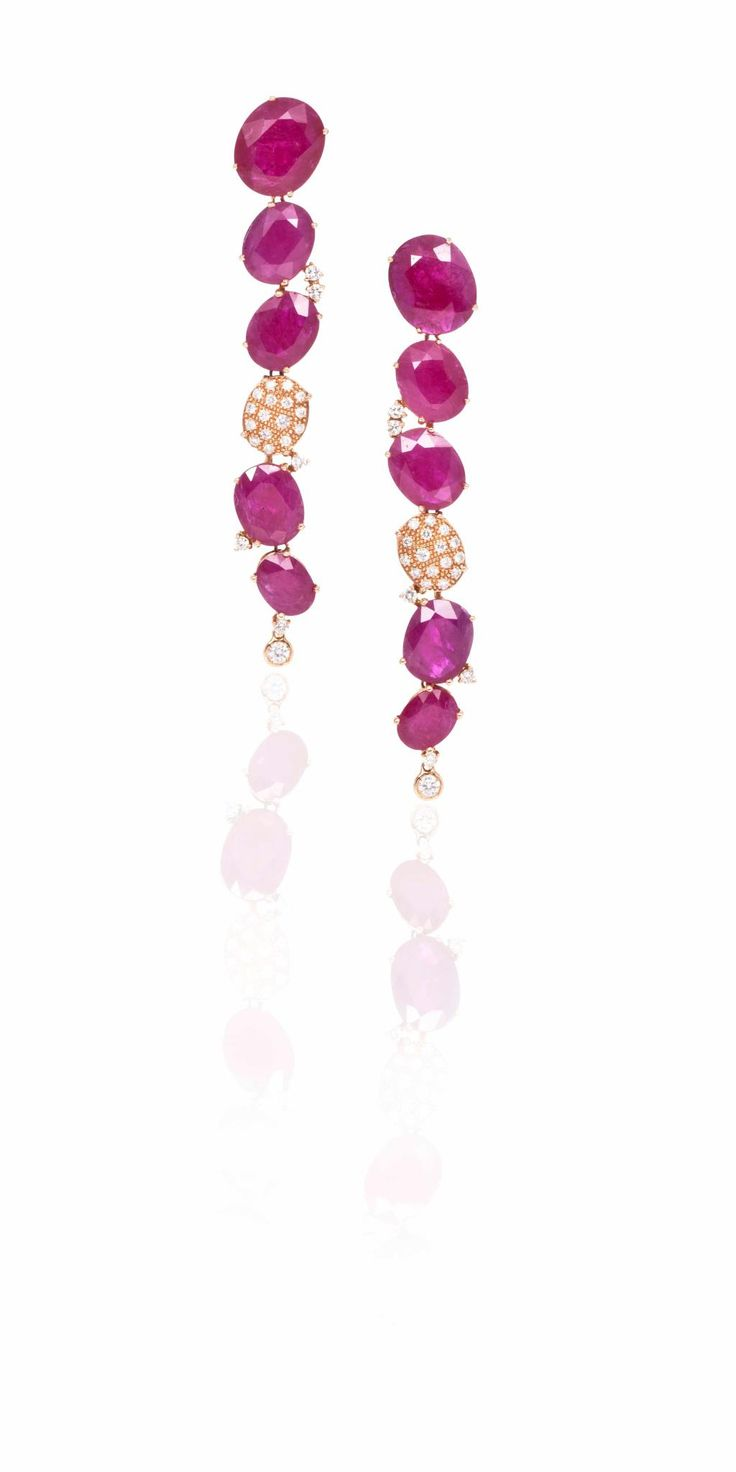 #Earrings in 18kt rose gold with #rubies and white #diamonds from the collection – #TaiMee. #CASATO - www.casatogioielli.com