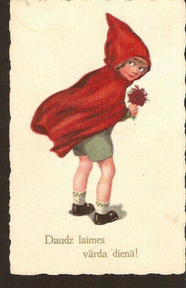 carte postale Bonne fête Jour de nommage nom fille en manteau imperméable rouge