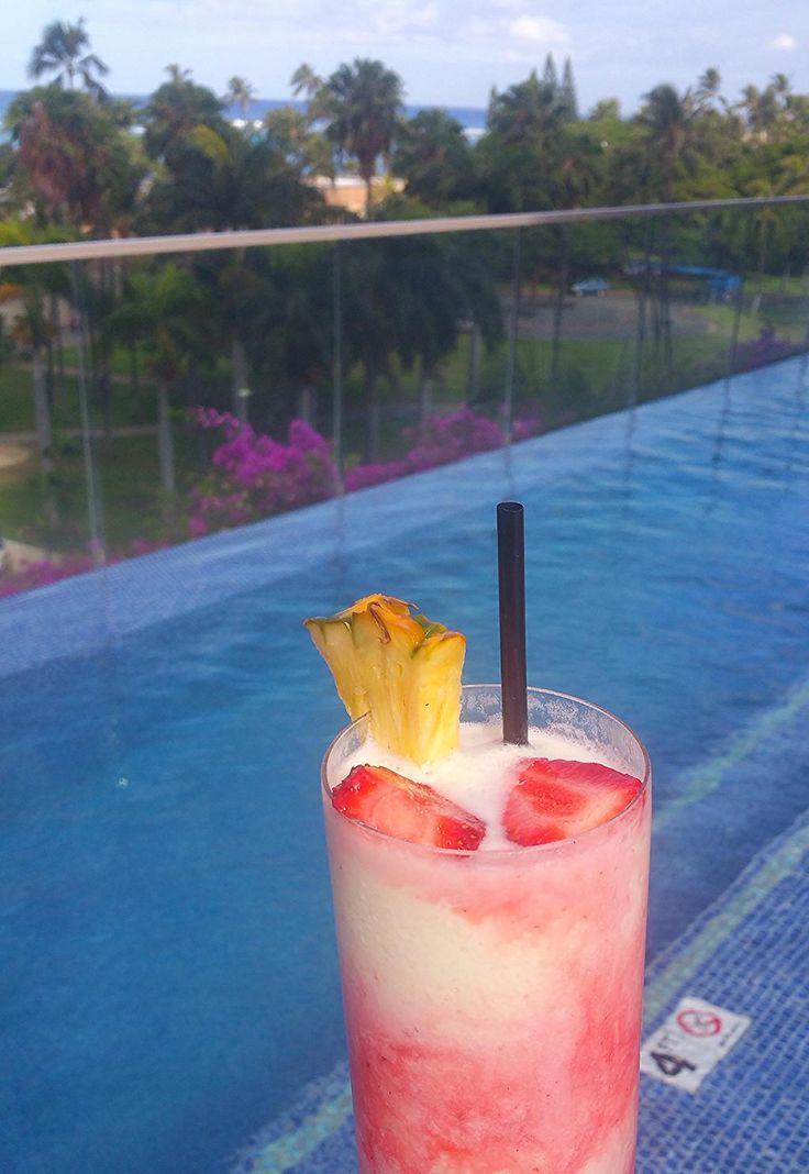 This poolside Lava Flow is calling your name.  #TrumpWaikiki #Waikiki #Hawaii #Luxury #Travel #Vacation #Pool #LavaFlow #Poolside #Drink #Summer #Coconut #Strawberry #Rum #Yum#Drink #Summer #Coconut #Strawberry #Rum #Yum  Trump International Hotel Waikiki Beach Walk