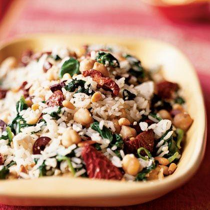 Greek-Style Picnic Salad Recipe ~ Rice, sun-dried tomatoes, fresh spinach, feta cheese, kalamata olives, garbanzo beans, lemon wedges