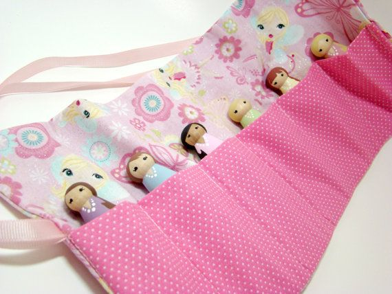 Little Fairies Roll-Up Case Wood Doll/People Set