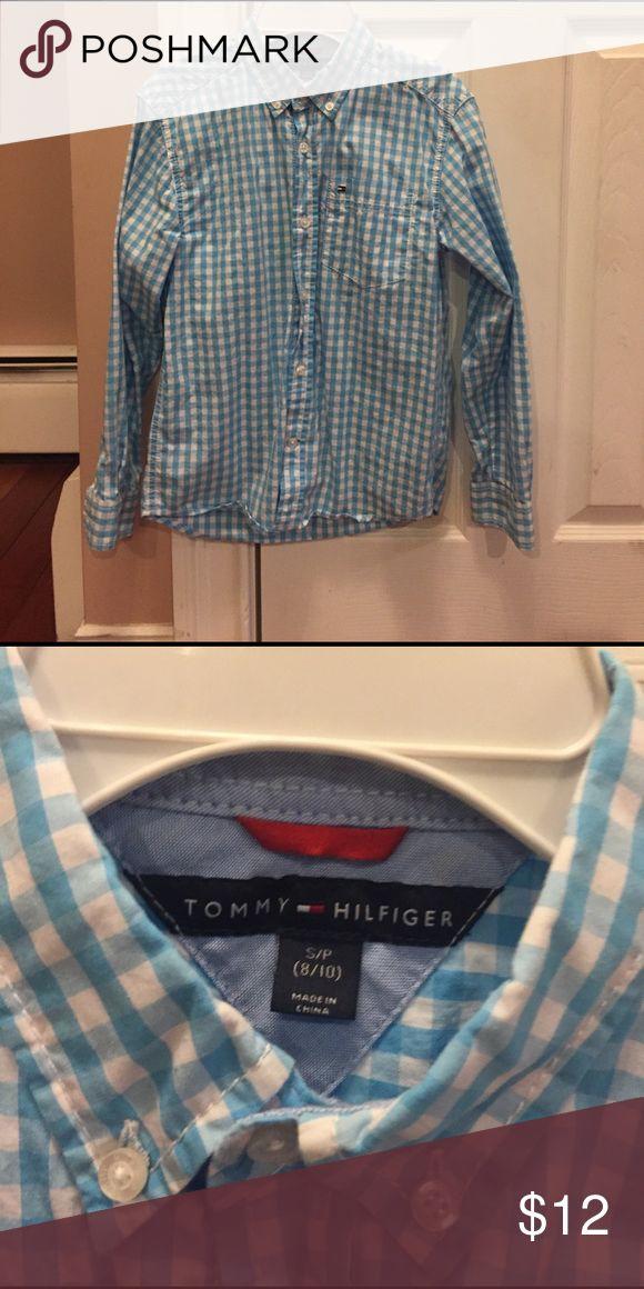 Tommy Hilfiger dress shirt Boys size S 8-10 Tommy Hilfiger dress shirt. Blue and white, worn twice. Tommy Hilfiger Shirts & Tops Button Down Shirts