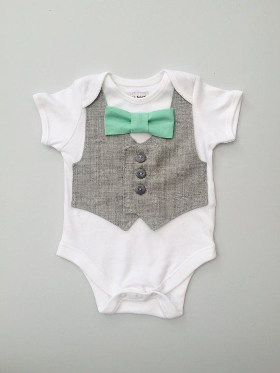 Baby boy clothes baby vest and bow tie bodysuit by ThisisLullaby