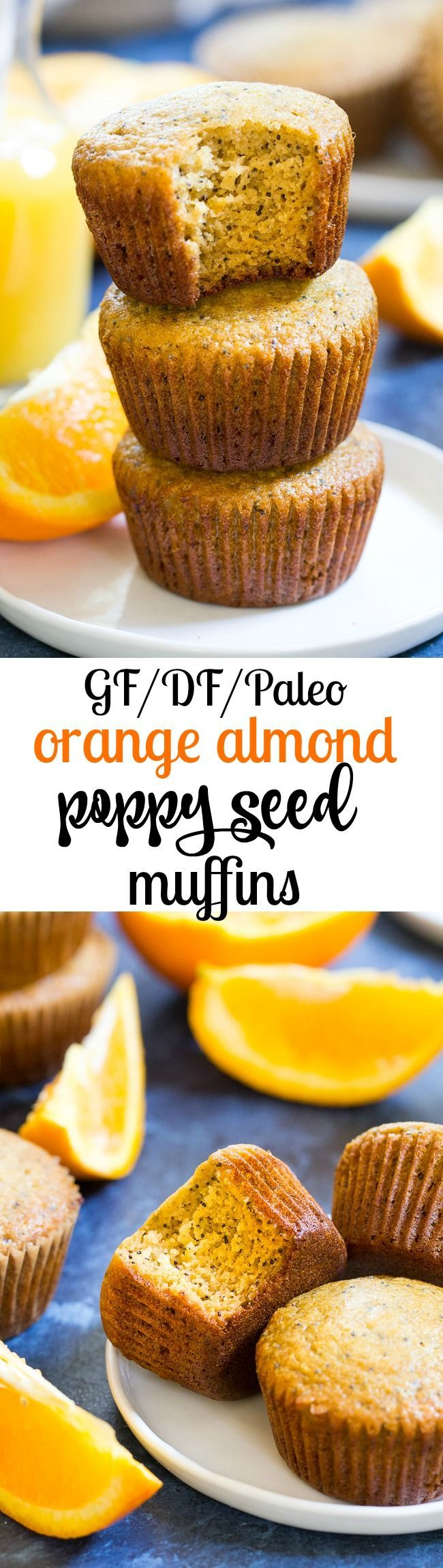 These orange almond poppy seed muffins are the perfect sweet addition to your breakfast and make great snacks too. Perfectly moist, sweet and packed with flavor and a hint of spice, you won't believe they're gluten free, dairy free, and paleo!