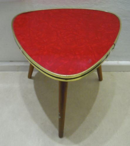 vintage retro 1960s formica side table coffee table or 3 legged stool