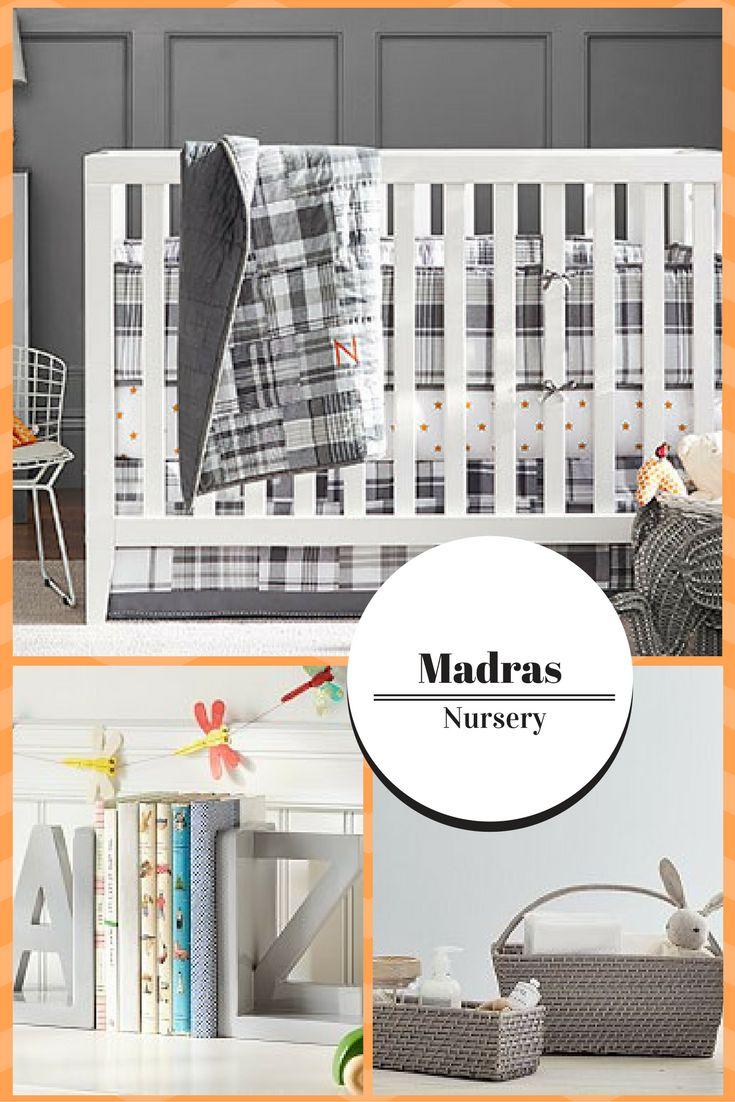 Madras Nursery | baby boy | gray and white | #ad
