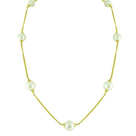 Jpearls Round Pearl Gold Chain | Single-strand Designer Gold Chain