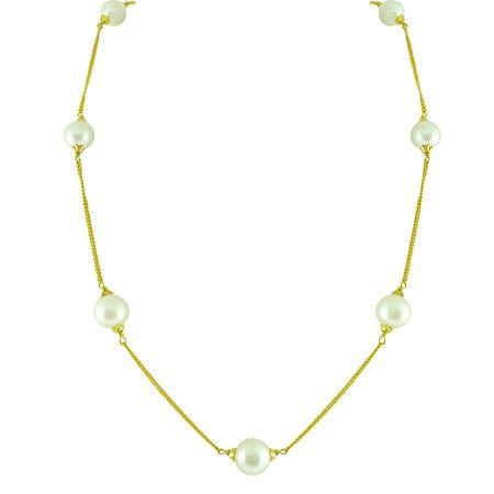 Jpearls Round Pearl Gold Chain | Single-strand Designer Gold Chain