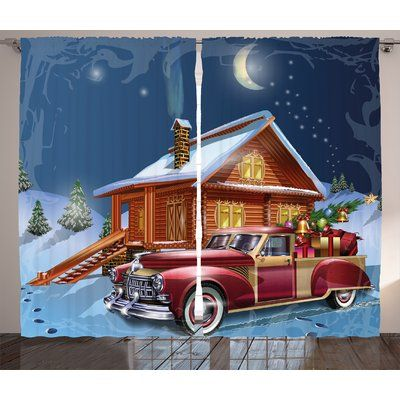 "The Holiday Aisle Christmas Wooden Lodge with Truck Graphic Print Room Darkening Rod Pocket Curtain Panels Size: 54"" x"