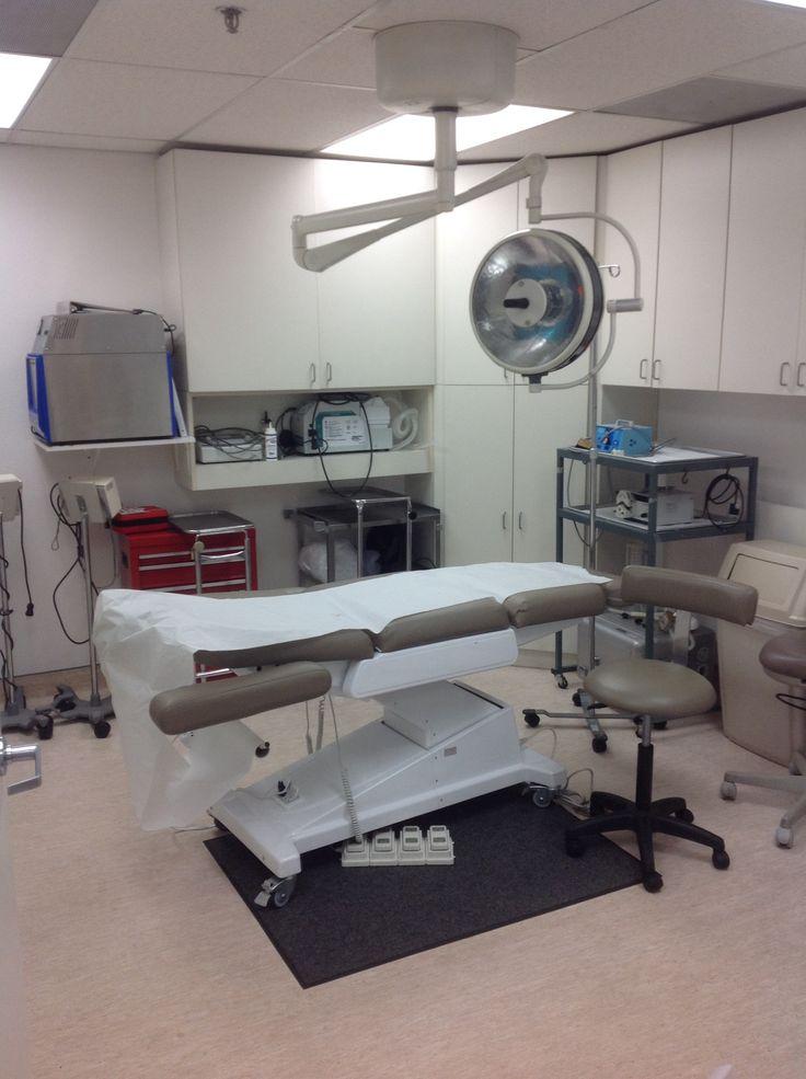 Operating room for blepharoplasty, liposuction, or full face phenol peels.