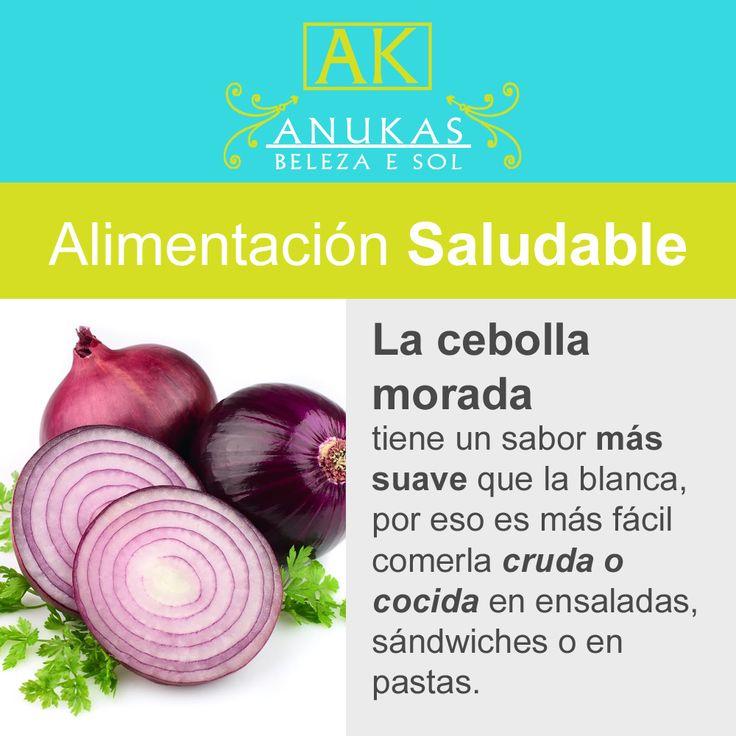 #Bienestar #Alimentación La cebolla morada es más suave que la blanca.