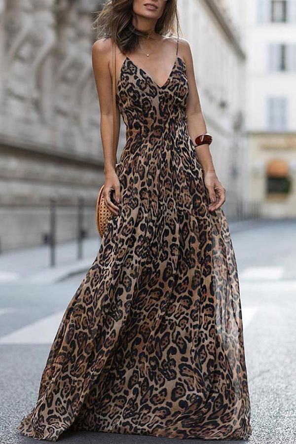 c5c1825a0fa1 Sexy Leopard Print Sleeveless Maxi Dress in 2019 | My Closet ...