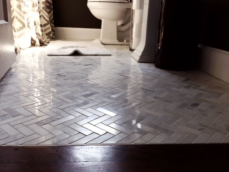 Marble Tile Herringbone Pattern Bathroom Home