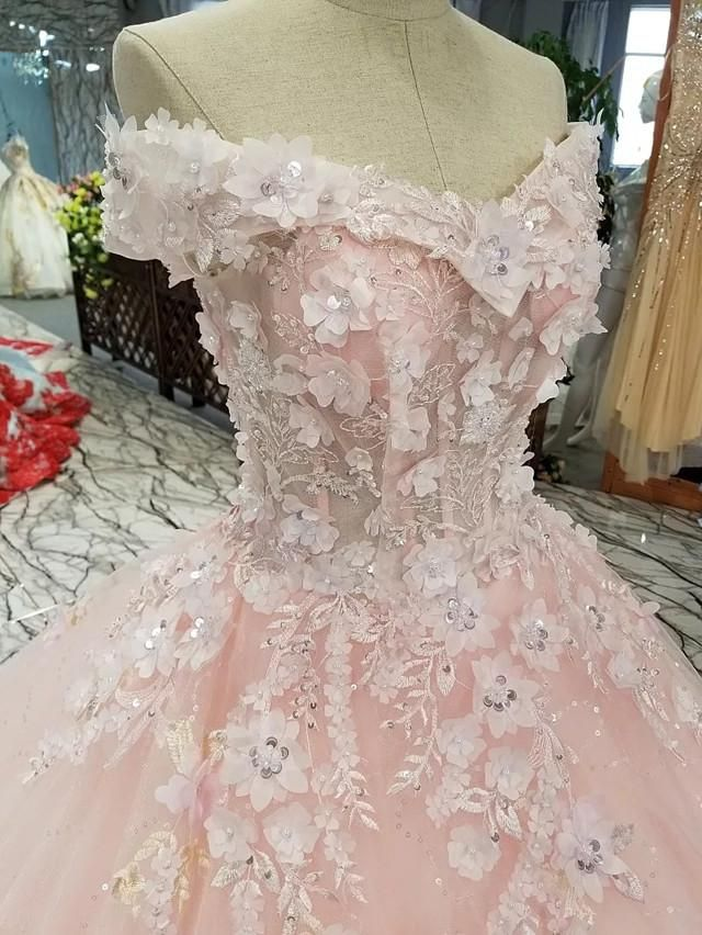 Blush Pink Flowers Tulle Off Shoulder Quinceanera Dresses Ball