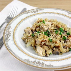 """Mushroom """"Risotto"""" - Simple 15-minute Faux Risotto for those with gluten and dairy sensitivities. Omit the chicken and it's vegetarian, too."""
