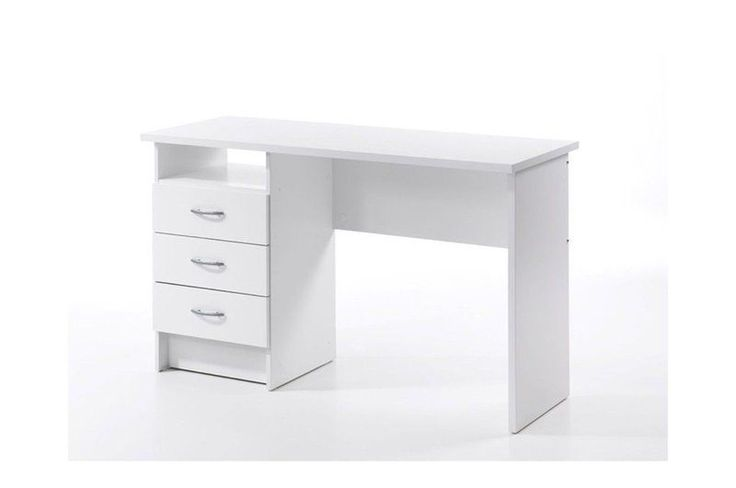 White Study Desk Drawer Shelf Office Furniture Home PC Table Wooden Workstation